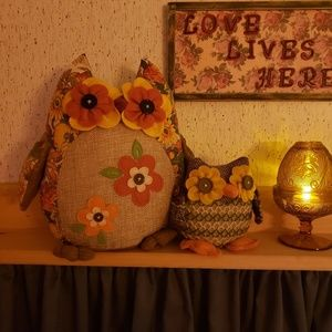 Pair of Fabric Owl Shelf Sitters
